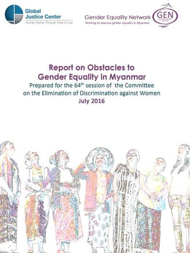 Report on obstacles to gender equality in myanmar  2016 jul